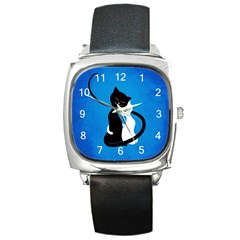 Blue White And Black Cats In Love Square Leather Watch