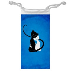 Blue White And Black Cats In Love Jewelry Bag