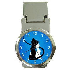 Blue White And Black Cats In Love Money Clip With Watch