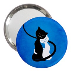 Blue White And Black Cats In Love 3  Handbag Mirror