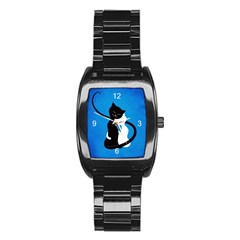 Blue White And Black Cats In Love Stainless Steel Barrel Watch
