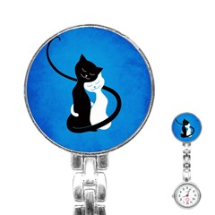Blue White And Black Cats In Love Stainless Steel Nurses Watch
