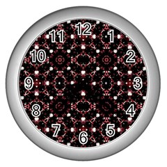 Futuristic Dark Pattern Wall Clock (silver) by dflcprints