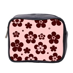 Pink With Brown Flowers Mini Travel Toiletry Bag (two Sides)