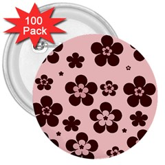 Pink With Brown Flowers 3  Button (100 Pack)