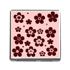 Pink With Brown Flowers Memory Card Reader With Storage (square) by Khoncepts