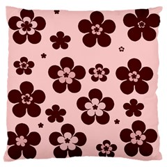 Pink With Brown Flowers Large Cushion Case (two Sided)  by Khoncepts