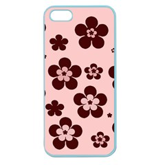 Pink With Brown Flowers Apple Seamless Iphone 5 Case (color) by Khoncepts