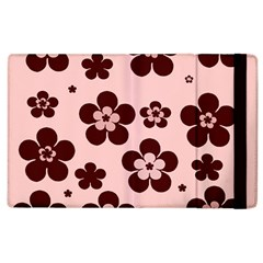 Pink With Brown Flowers Apple Ipad 2 Flip Case by Khoncepts