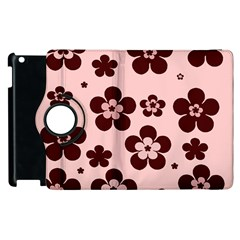 Pink With Brown Flowers Apple Ipad 2 Flip 360 Case by Khoncepts