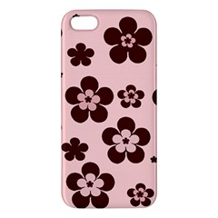 Pink With Brown Flowers Apple Iphone 5 Premium Hardshell Case by Khoncepts