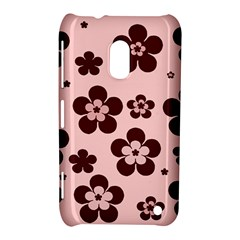 Pink With Brown Flowers Nokia Lumia 620 Hardshell Case by Khoncepts