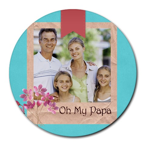 Fathers Day By Dad   Collage Round Mousepad   G29fp2ugkt1c   Www Artscow Com 8 x8 Round Mousepad - 1