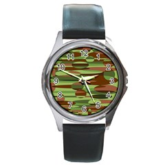 Green And Brown Spheres By Khoncepts Com Round Metal Watch by Khoncepts