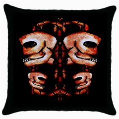 Skull Motif Ornament Black Throw Pillow Case by dflcprints