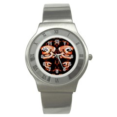 Skull Motif Ornament Stainless Steel Watch (slim) by dflcprints