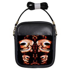 Skull Motif Ornament Girl s Sling Bag