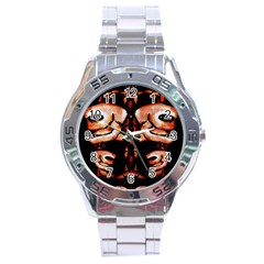 Skull Motif Ornament Stainless Steel Watch by dflcprints