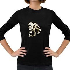 Angel Skull Women s Long Sleeve T Shirt (dark Colored) by dflcprints