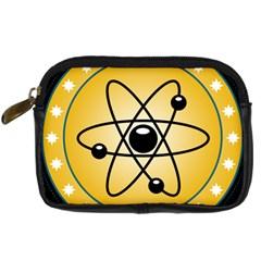 Atom Symbol Digital Camera Leather Case by StuffOrSomething