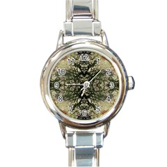 Winter Colors Collage Round Italian Charm Watch by dflcprints