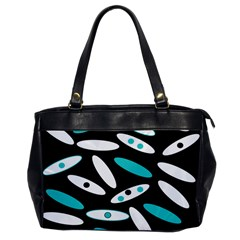 Black, White And Blue Circles By Celeste Khoncepts Com Oversize Office Handbag (One Side) by Khoncepts