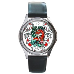 Tribal Dragon Round Leather Watch (silver Rim) by TheWowFactor
