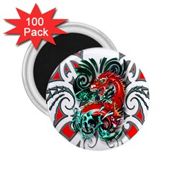Tribal Dragon 2 25  Button Magnet (100 Pack) by TheWowFactor