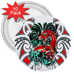 Tribal Dragon 3  Button (10 Pack) by TheWowFactor