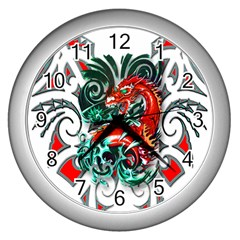 Tribal Dragon Wall Clock (silver) by TheWowFactor