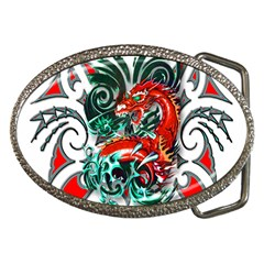 Tribal Dragon Belt Buckle (oval) by TheWowFactor