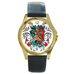 Tribal Dragon Round Leather Watch (gold Rim)  by TheWowFactor