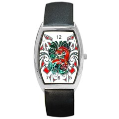 Tribal Dragon Tonneau Leather Watch by TheWowFactor