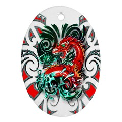 Tribal Dragon Oval Ornament (two Sides) by TheWowFactor