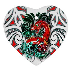 Tribal Dragon Heart Ornament (two Sides) by TheWowFactor