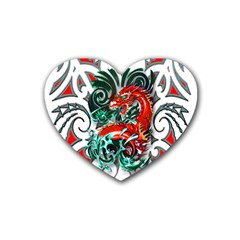 Tribal Dragon Drink Coasters 4 Pack (heart)  by TheWowFactor