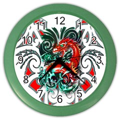 Tribal Dragon Wall Clock (color) by TheWowFactor