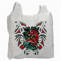 Tribal Dragon White Reusable Bag (one Side) by TheWowFactor