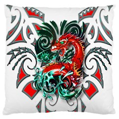 Tribal Dragon Large Cushion Case (two Sided)  by TheWowFactor