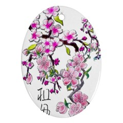 Cherry Bloom Spring Oval Ornament by TheWowFactor