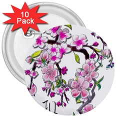 Cherry Bloom Spring 3  Button (10 pack) by TheWowFactor