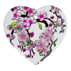Cherry Bloom Spring Heart Ornament (two Sides) by TheWowFactor