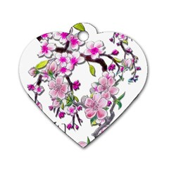 Cherry Bloom Spring Dog Tag Heart (one Sided)  by TheWowFactor