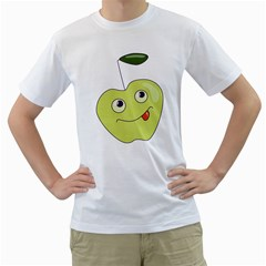 Cute Green Cartoon Apple Men s T Shirt (white)