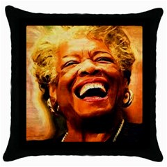 Angelou Black Throw Pillow Case by Dimension