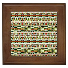 Aztec Grunge Pattern Framed Ceramic Tile by dflcprints