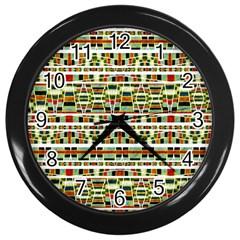 Aztec Grunge Pattern Wall Clock (black) by dflcprints