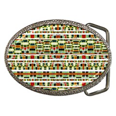 Aztec Grunge Pattern Belt Buckle (oval) by dflcprints
