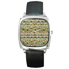 Aztec Grunge Pattern Square Leather Watch by dflcprints