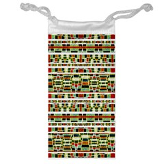 Aztec Grunge Pattern Jewelry Bag by dflcprints